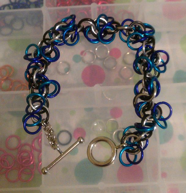 Chainmaille Bracelet Blue Purple Silver Black