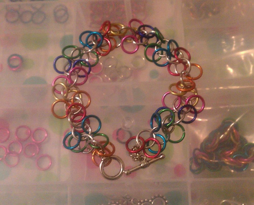 Simple Chainmaille Bracelet Rainbow Colors
