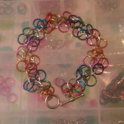 Simple Chainmaille Bracelet Rainbow Colors